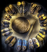 Lynn Palmer Art - Moccasins Circle Plus Drum by Lynn Palmer