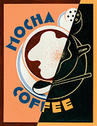 Vintage Coffee Posters - Mocha coffee Poster by Brian James