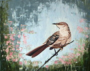 Mockingbird Paintings - Mockingbird Trill by Linda Rous