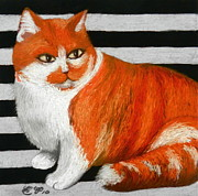 Orange Cat Pastels Posters - Mod Cat Poster by Hannah Parker
