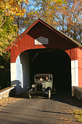 Bucks County Posters - Model A Ford at Knechts Bridge Poster by Anna Lisa Yoder