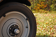 Autumn Photographs Posters - Model A Front Tire Poster by Bruce Gourley