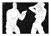 Model And Artist 20 Print by Leonid Petrushin