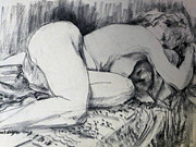 Printed Drawings Posters - Model-at-Rest Poster by Joan  Jones