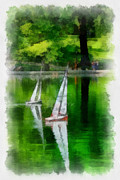 Racing Digital Art - Model Boat Basin Central Park by Amy Cicconi