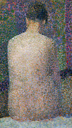 Pointillist Framed Prints - Model from the Back Framed Print by Georges Pierre Seurat