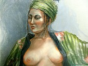 Model Pastels Originals - Model in green Turban by Margaret  Wright-Niemann