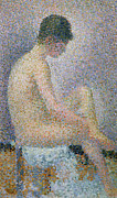 Dot Painting Framed Prints - Model in Profile Framed Print by Georges Pierre Seurat