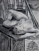 Girls Charcoal Nude Drawings Prints - Model Life Print by Kendall Kessler
