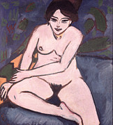 Naked Woman Framed Prints - Model on Blue Ground Framed Print by Ernst Ludwig Kirchner