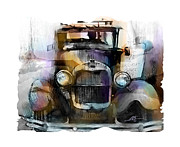 Pencil Drawing Posters - Model T Poster by Bob Salo