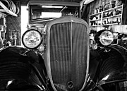 Ford Model T Car Posters - Model T Ford monochrome Poster by Steve Harrington