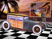 Wire Wheels Posters - Model T Surf Woody Poster by Stuart Swartz