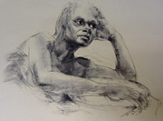 Studio Drawings - Model With Basket by Stephen Gwoktcho