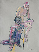 Man And Woman Drawings - Models 1 by Asha Carolyn Young