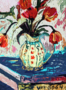 Pitchers Posters - Modern Abstract Tulips Still Life Poster by Ginette Callaway