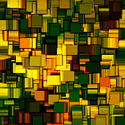 Gold Lime Green Art - Modern Abstract XXII by Lourry Legarde