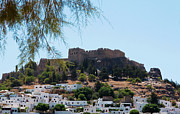 Lindos Posters - Modern and Ancient in Lindos Poster by Lorraine Devon Wilke