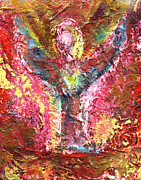 Angel Art Painting Originals - Modern Angel Art Red Textured Original Painting ANGEL OF HOPE VI by ARTDESTINY Painting by Michele Morata
