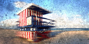 Patriotism Digital Art Prints - Modern-Art MIAMI BEACH Watchtower Print by Melanie Viola