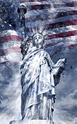 Flag Of Usa Digital Art Prints - Modern Art STATUE OF LIBERTY blue Print by Melanie Viola