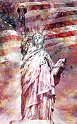 Patriotism Framed Prints - Modern Art STATUE OF LIBERTY red Framed Print by Melanie Viola