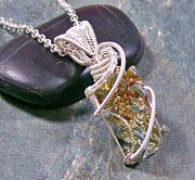 Jordan Jewelry - Modern Bismuth Crystal and Silver Wire-Wrapped Pendant by Heather Jordan