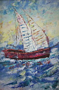 South Of France Painting Originals - Modern boat by Frederic Payet