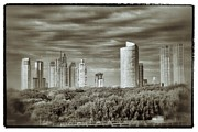 Featured Reliefs Posters - Modern Buenos Aires Black And White Poster by For Ninety One Days