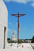 Catholic Icon Framed Prints - Modern cross on the Sanctuary of Fatima Framed Print by Luis Santos