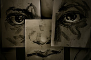 Face  Pyrography - Modern Face by Chaivit Chana