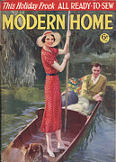 Featured Metal Prints - Modern Home 1930s Uk   Punting Boats Metal Print by The Advertising Archives