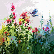 Balm Prints - Modern Hummingbird and bee Balm  Print by Ginette Callaway
