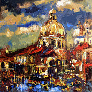 Old Buildings Mixed Media Prints - Modern Impressionist Venice Sparkling at Sunset  Print by Ginette Callaway