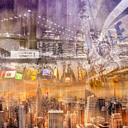 Cities Digital Art - Modern NYC Composing purple/orange by Melanie Viola