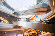 Escalator Prints - Modern shopping mall Print by Michal Bednarek