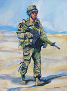 Soldier Paintings - Modern Soldier by Derrick Higgins