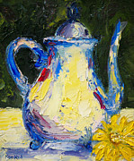 White Flowered Paintings - Modern Teapot by Lisa Konkol