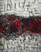Signature Mixed Media Prints - Modern textured metallic abstract painting Print by Julia Mikhailiuk