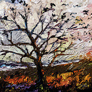 Stormy Mixed Media - Modern Tree Paintings Triptych Abstract Mixed Media Art by Ginette Callaway