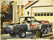 Pickup Truck Door Posters - Modern West as the Sun Sets Poster by Phyllis Kaltenbach