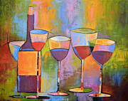 Wine Bottle Paintings - Modern Wine Art ... Wine Party by Amy Giacomelli