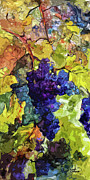 Blue Grapes Mixed Media Prints - Modern Wine Grapes Art  Print by Ginette Callaway
