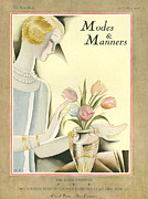 Featured Acrylic Prints - Modes & Manners 1925 1920s Usa Flowers Acrylic Print by The Advertising Archives