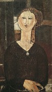 Modigliani; Amedeo (1884-1920) Framed Prints - Modigliani, Amedeo 1884-1920. Antonia Framed Print by Everett