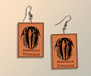 Prehistoric Digital Art Originals - Modocia Typicalis Fossil Trilobite Paper Earrings  by Melissa A Benson