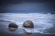 Moeraki Boulders  Posters - Moeraki Boulders and Waves Poster by Colin and Linda McKie