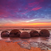 Sunset Seascape Framed Prints - Moeraki Boulders Otago New Zealand Framed Print by Colin and Linda McKie