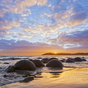 Moeraki Boulders  Posters - Moeraki Boulders Otago New Zealand Sunrise Poster by Colin and Linda McKie