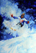 Skiing Action Painting Originals - Mogul Mania by Hanne Lore Koehler